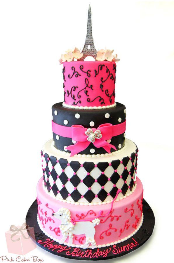 Parisian Themed Birthday Cakes By Pink Cake Box