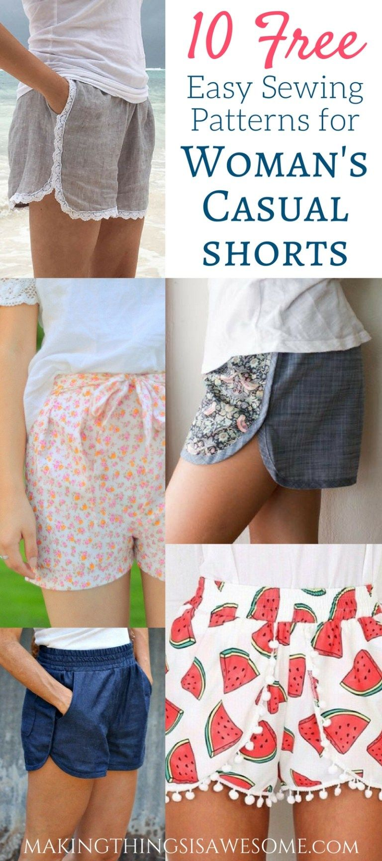 10 Free Woman's Casual Shorts Sewing Patterns: Round-up #beginnersewingprojects