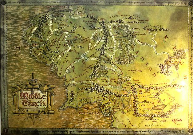 The Hobbit Lord Of The Rings Map Of Middle Earth Art Prints Close