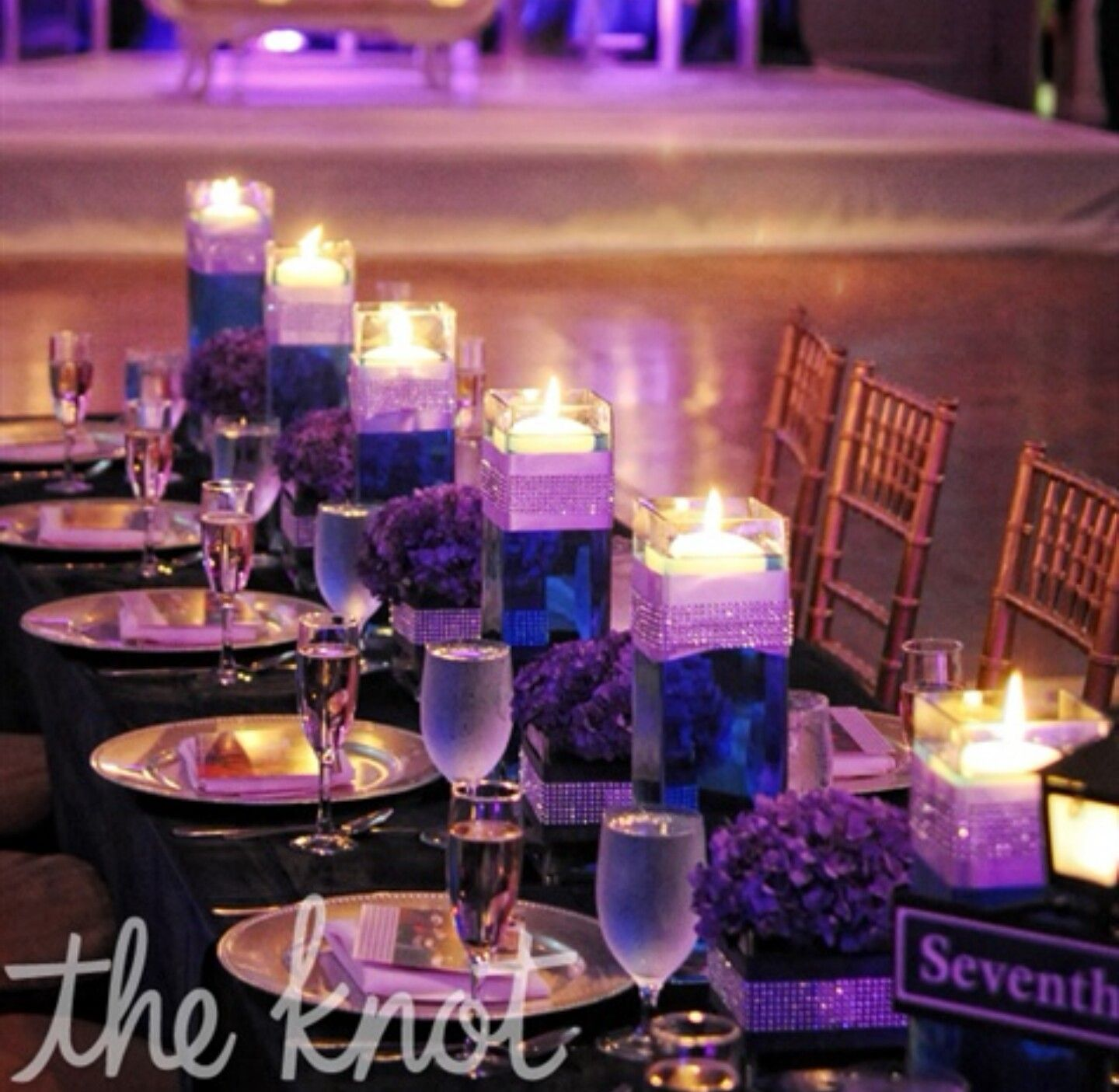 Purple And Blue Low Hydrangea Centerpieces Head Table
