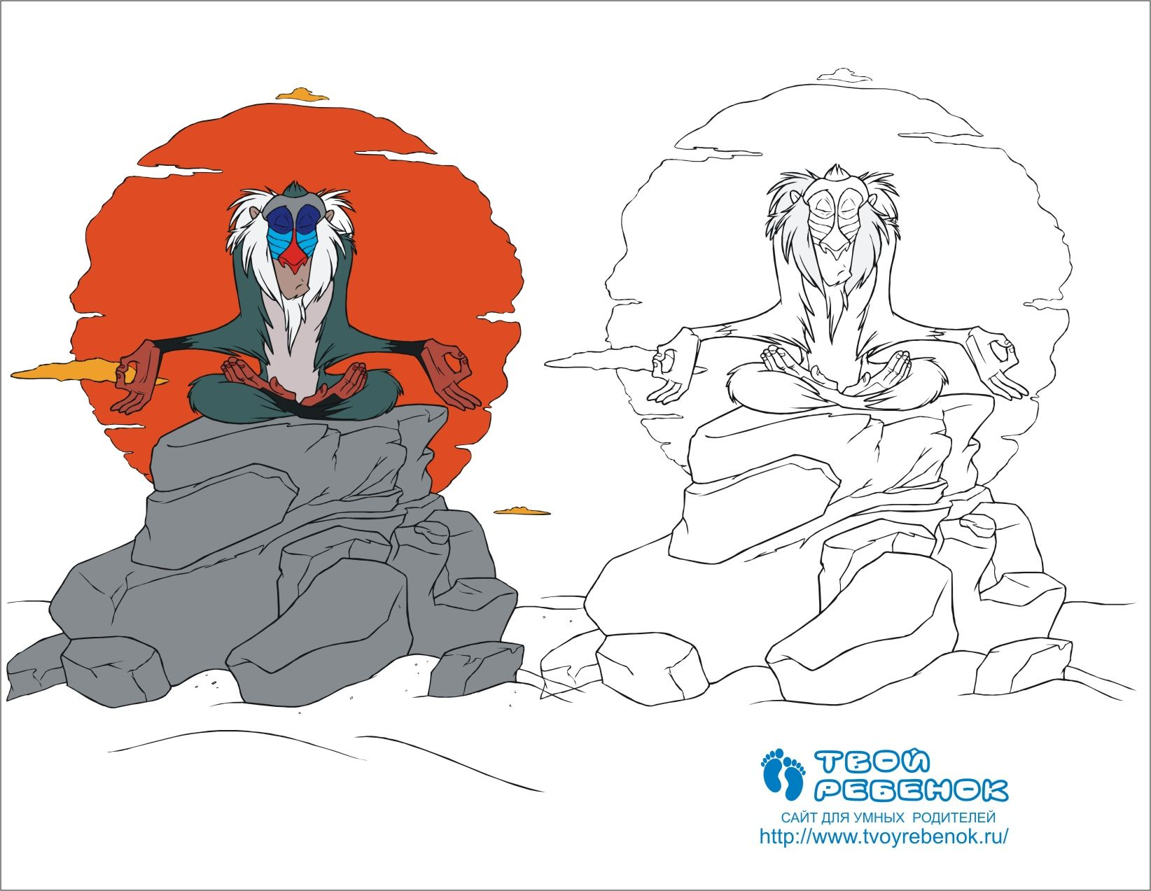 Раскраска обезьяна м/ф Король Лев   Король лев, Раскраски ...