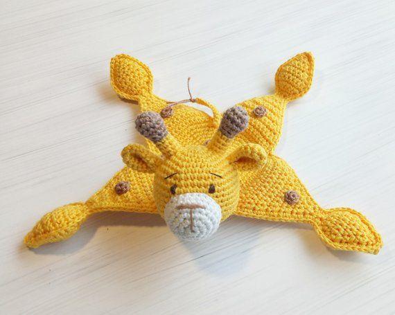 Crochet security blanket toy giraffe, crochet baby comforter cotton eco-toy, cute crochet giraffe gi #crochetsecurityblanket
