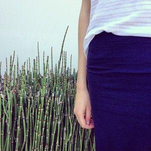 Bella Luxx shadow stripe tee and column skirt.