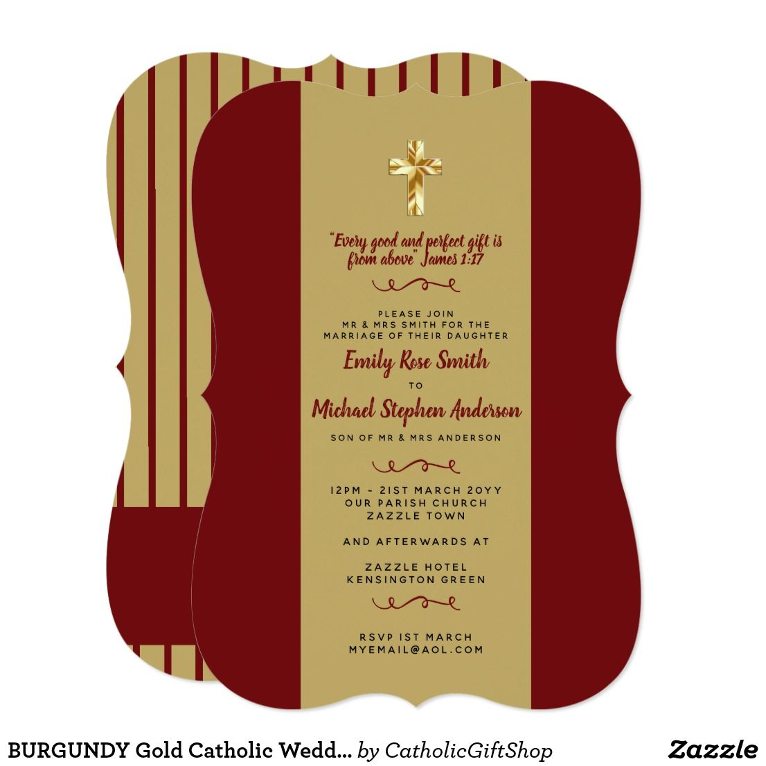 BURGUNDY Gold Catholic Wedding Invites Bible Verse | Catholic Store ...