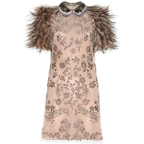 Valentino Bead-Embellished Dress With Feathers ($5,710) ❤ liked on ...