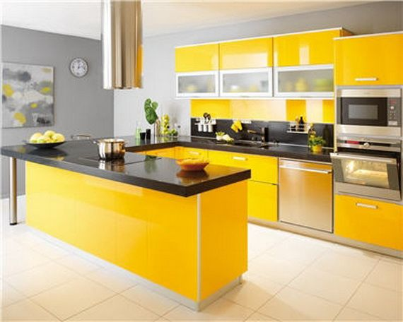 Spring colorful modern kitchen decorating ideas for Modern kitchen wall color ideas