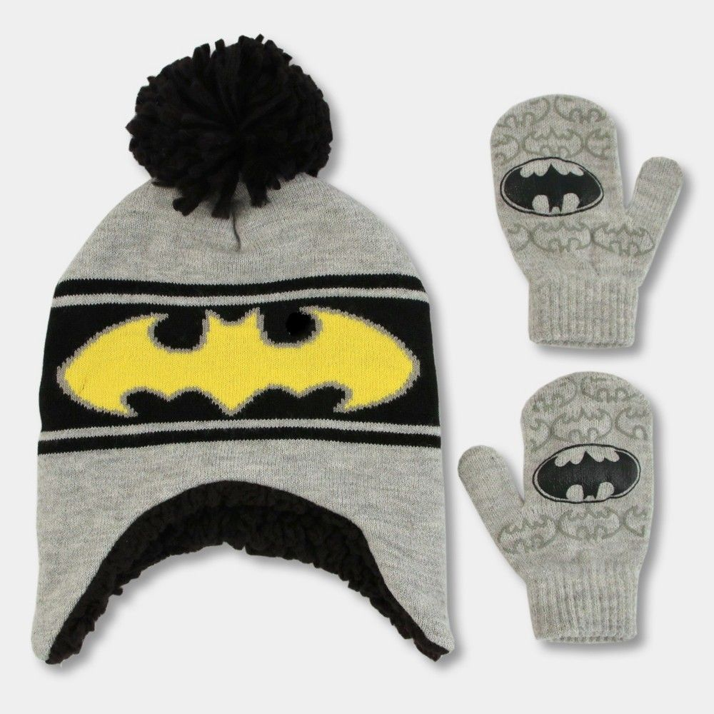 636fe44cd438e Toddler Boys  Batman Hat and Mitten Set - Black One Size
