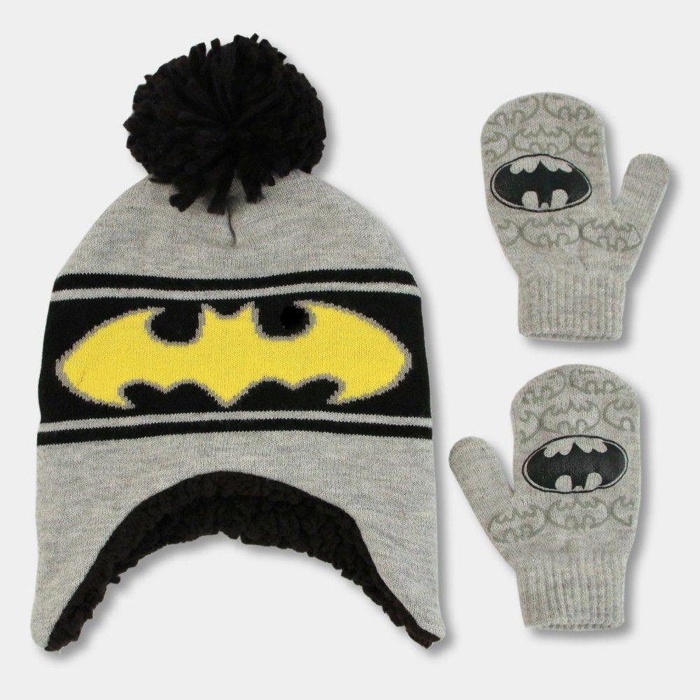 636fe44cd438e Toddler Boys  Batman Hat and Mitten Set - Black One Size