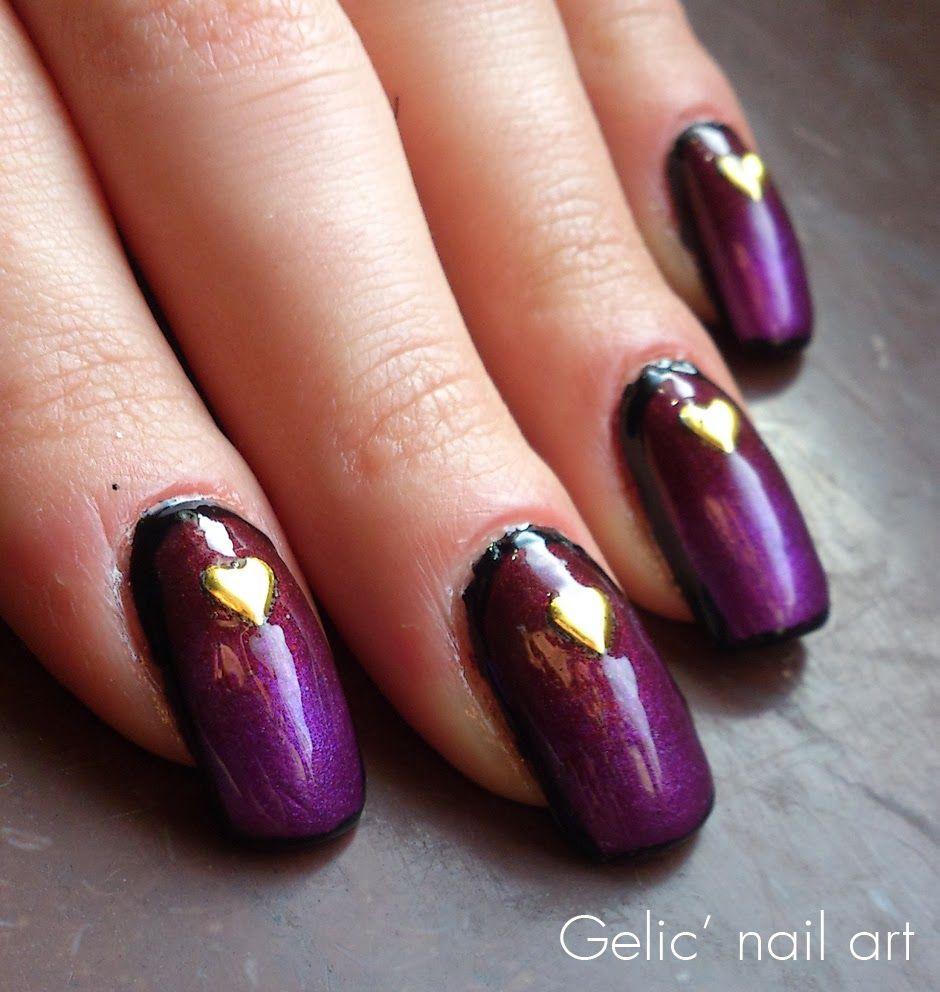 Gelic' nail art: Heart metal studs on gradient | Nails ...