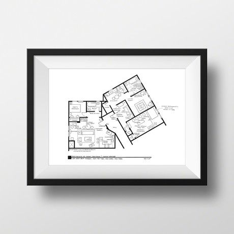 Tv Show Homes Floor Plan Wall Art   Pretty Cool Gift Idea: Seinfeld //