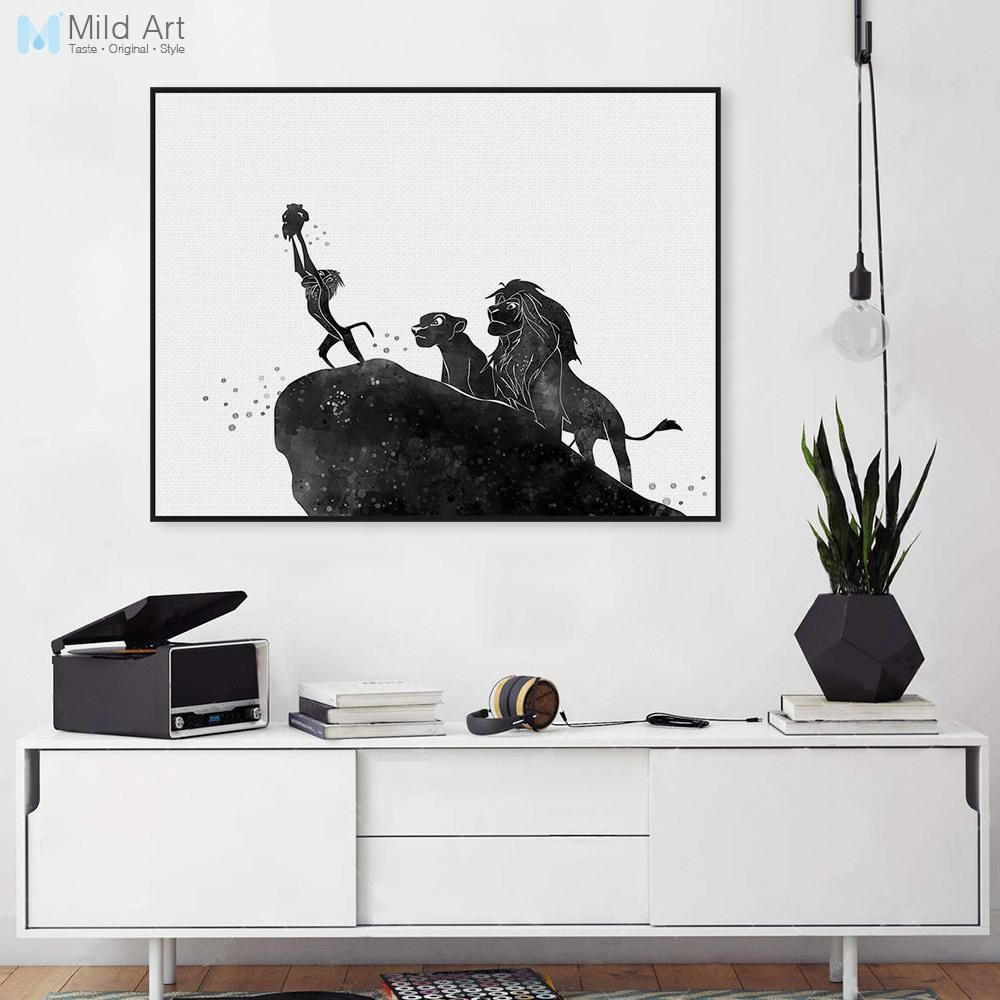 Pop Movie Poster Lion King Cartoon Canvas Black White Large Art ...