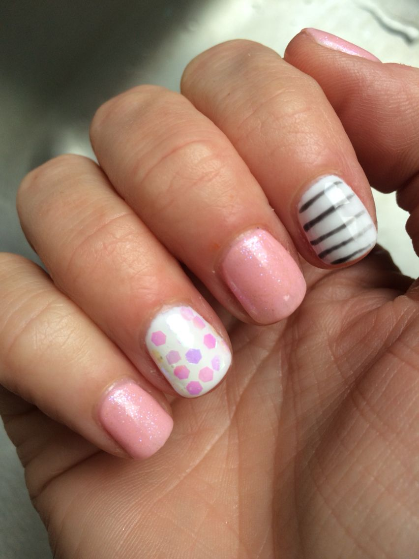 Pink white glitter prism strip winter New Years Gel nails | Gel ...