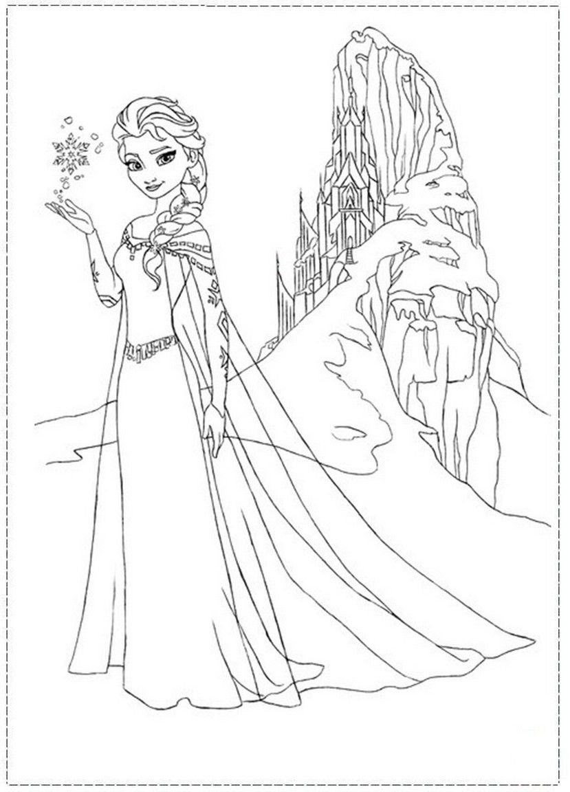 Elsa Coloring Pages Castle | Elsa and Her Ice Castle Frozen Coloring ...