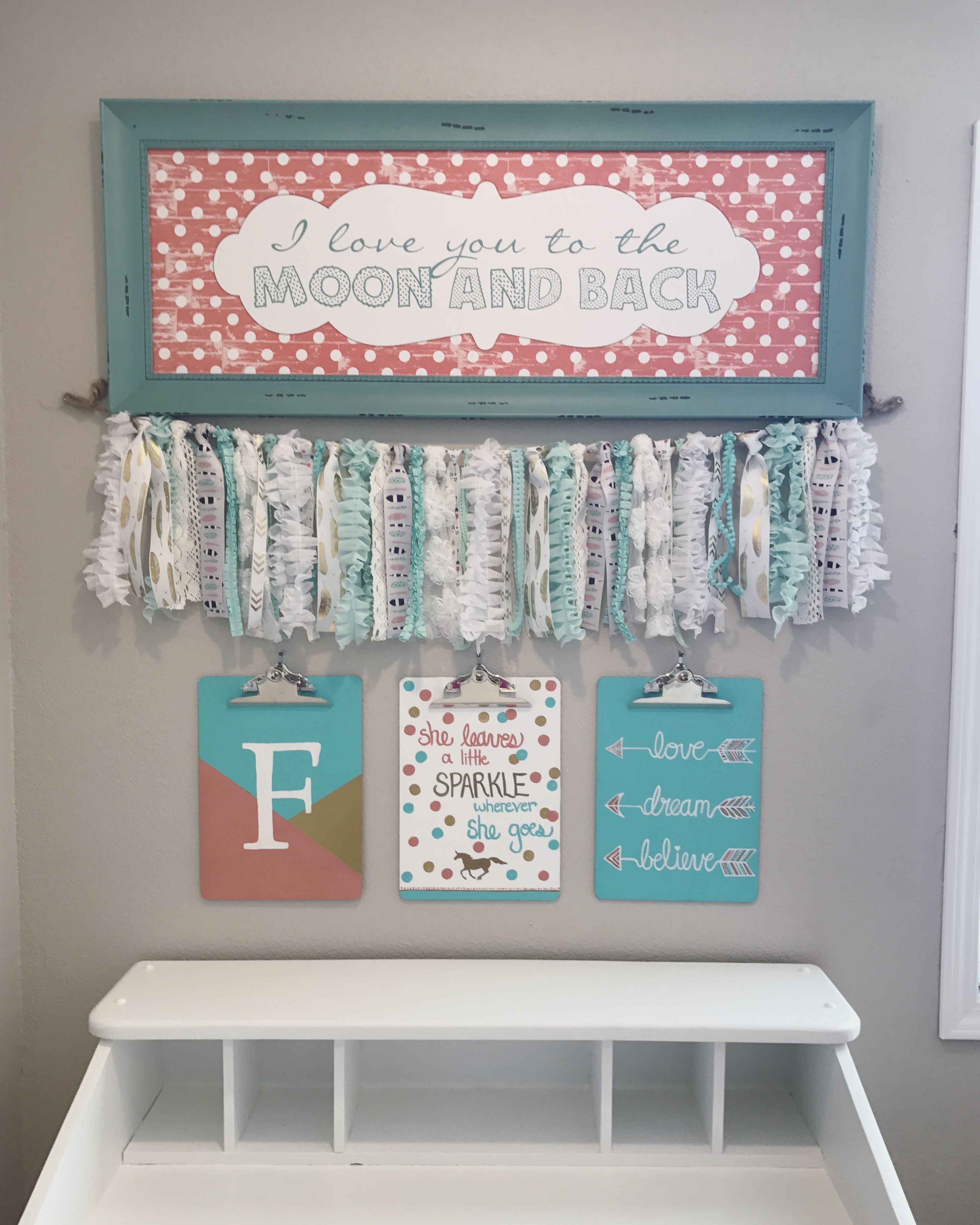 Turquoise coral and gold girls room decor