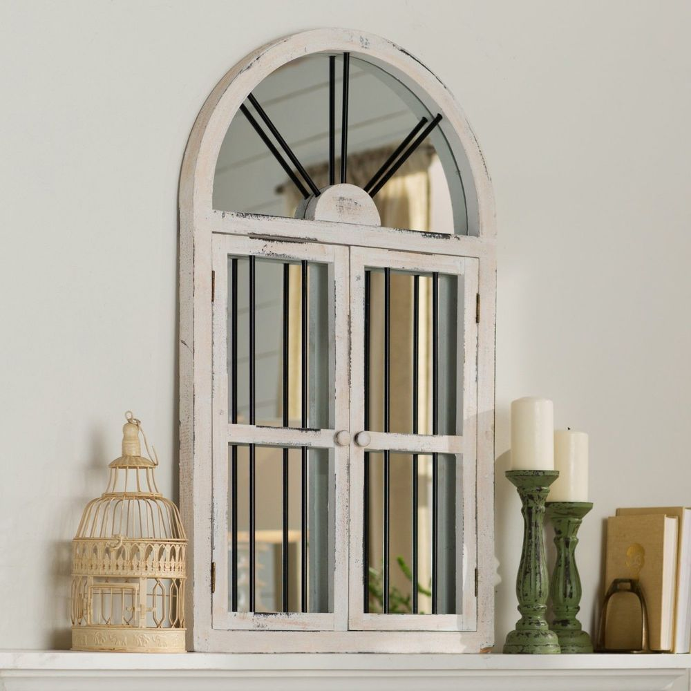 Window mirror decor  distressed vintage rustic cathedral arched windowpane wood mirror