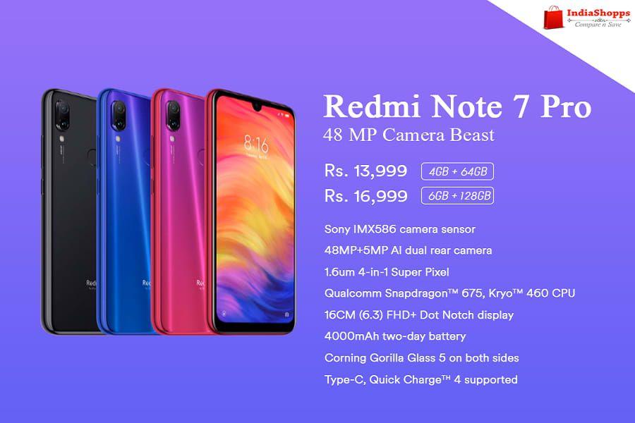 Xiaomi Redmi Note 7 Pro Smartphone Price Specifications And Features Note 7 Xiaomi Smartphone Price