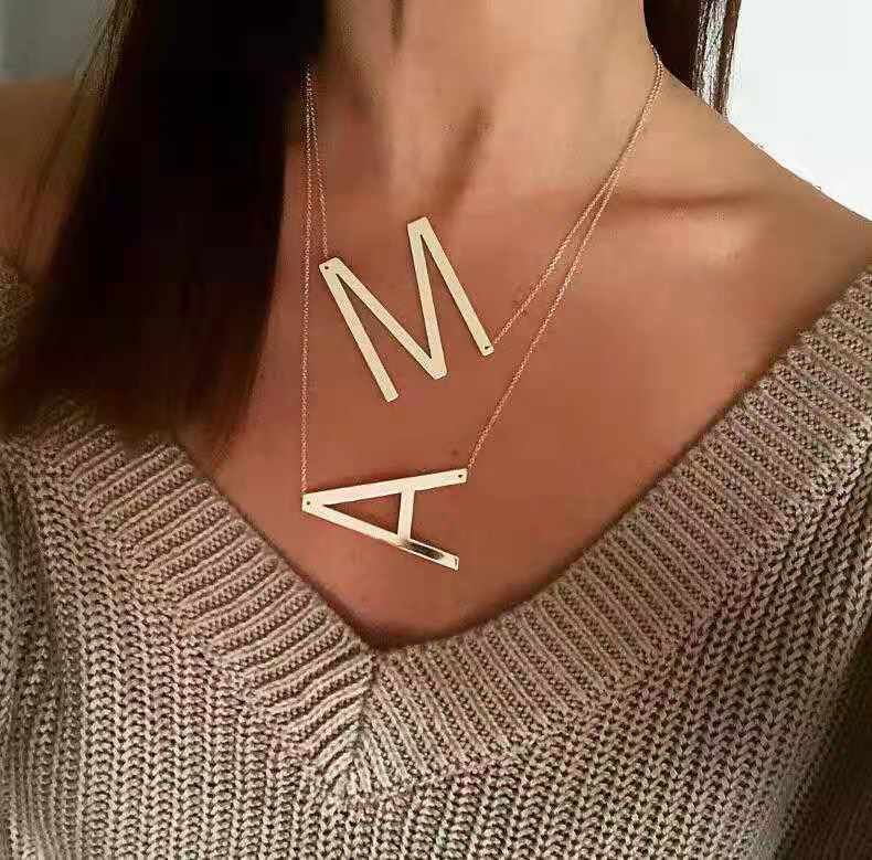 Personalized Necklace Big Letter Large Letter Necklace Customized Gift Free Shipping Custom Letter Necklace Fashion Women Necklace