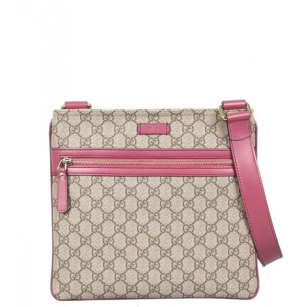 Gucci Beige & Lilac GG Supreme Canvas Flat Messenger Bag (€540) ❤ liked on Polyvore featuring bags, messenger bags, canvas courier bag, zip top messenger bag, canvas bag and lilac bag