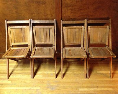 Vintage Simmons Company Wooden Folding Chairs Set Of 4 Free Shipping |  EBay  149 For