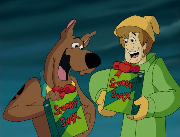 Scooby and Shaggy exchanging gifts.