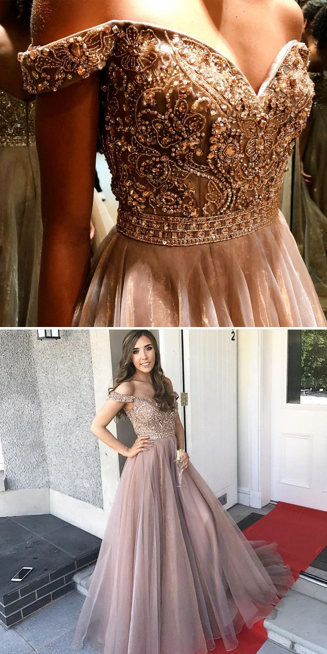 Gorgeous off the shoulder long prom dress long prom dress