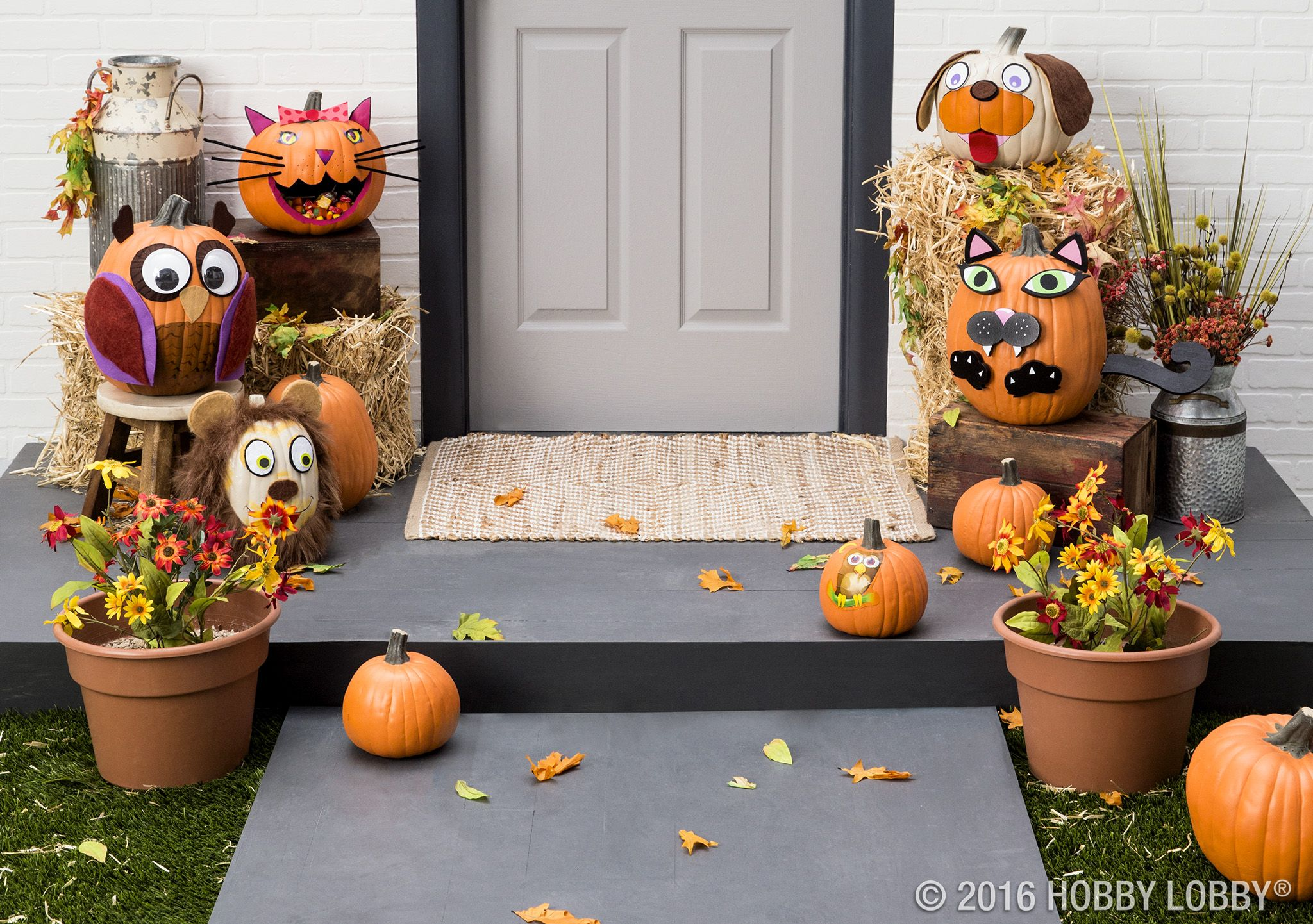 Less mess means more fun with faux pumpkins! Carvable and cute - Hobby Lobby Halloween Decorations