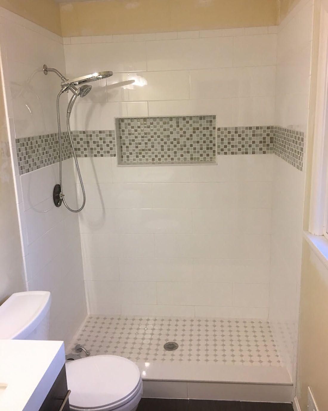 Tile Bathroom Walk In Shower Shower Niche Tile Backsplash