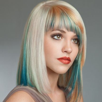 Hair Color How To Peach And Cyan Blue Highlights In Blonde Hair