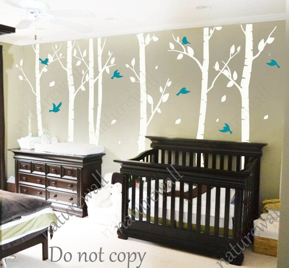 White Birch Tree Decals Nursery Kids Wall Baby Decal Room Decor
