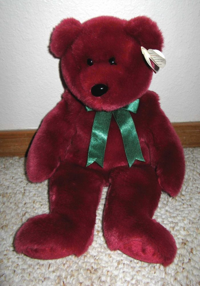 Very Rare Ty Cranberry Teddy the Beanie Baby Original Buddy Plush ... ce08aa7737