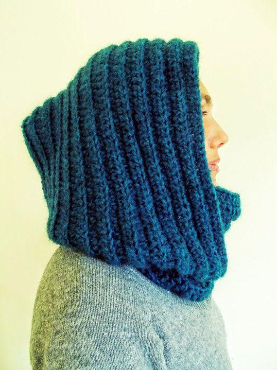 Men\'s Dark Teal Blue Scarf/Hooded Scarf/Crochet Scarf/Unisex ...