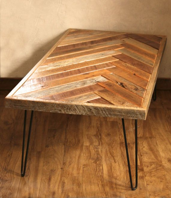 stunning herringbone coffee table with hairpin legs by with pallen meubels. Black Bedroom Furniture Sets. Home Design Ideas