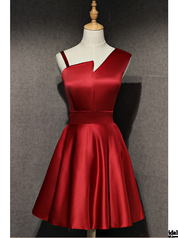 3c98964940d362 Burgundy Short Satin Homecoming Dresses (ED1855)