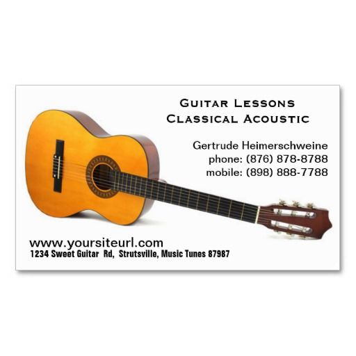 Classic Acoustic Guitar Photo Music Lessons Business Card Zazzle Com Guitar Photos Music Business Cards Guitar