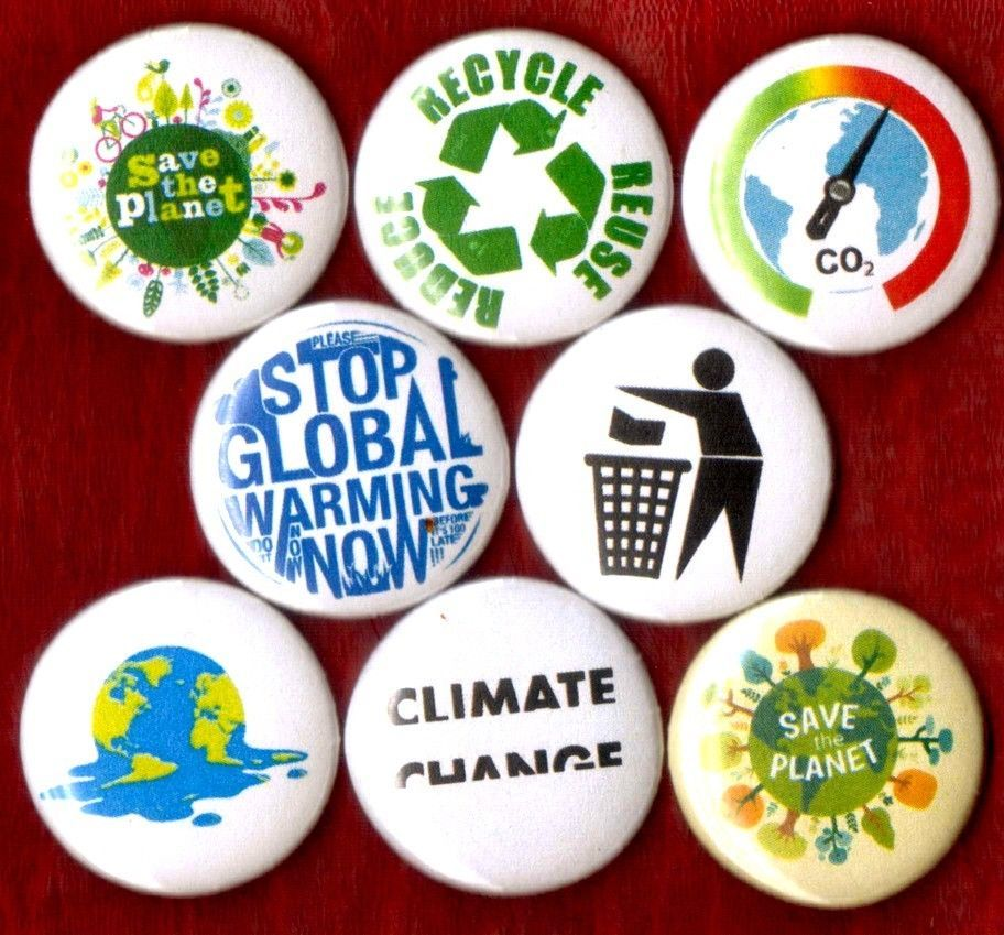 SAVE THE PLANET 8 NEW button pin badge global warming