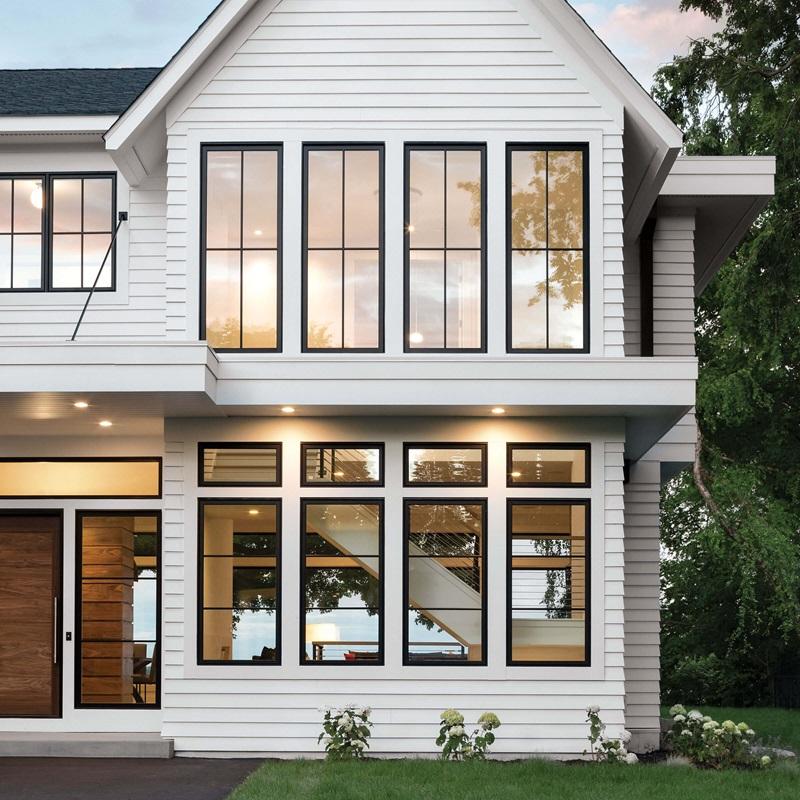 Modern Farmhouse Black And White Exterior Home Marvin With Images White Exterior Houses House Exterior Windows Exterior