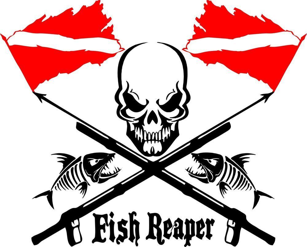 Fish Reaper Skull Diver Flag Speargun Car Boat Truck Window Vinyl - Custom vinyl decal stickers for boats