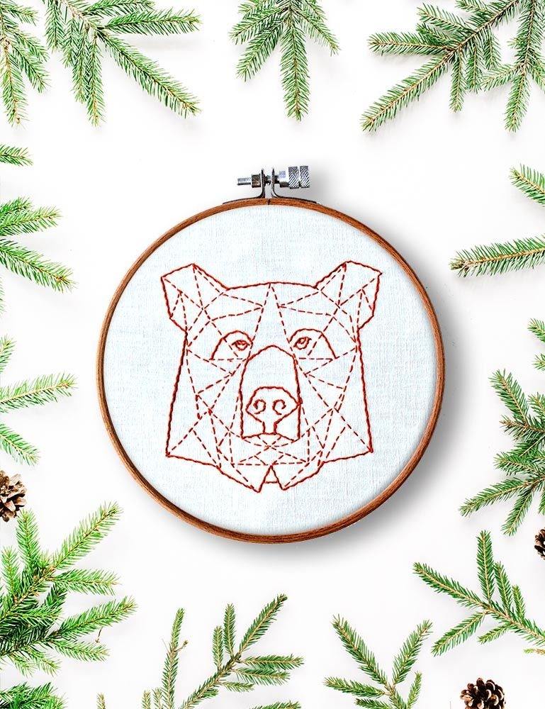 Bear Embroidery Pattern - Bear Hoop Art - Hoop Art Pattern ...
