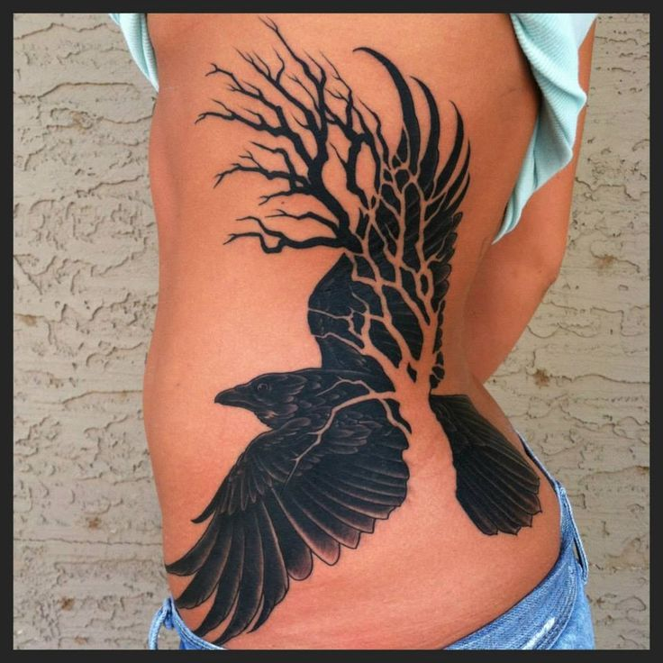 tree tattoo with crow on ribs for women Tattoos, Raven