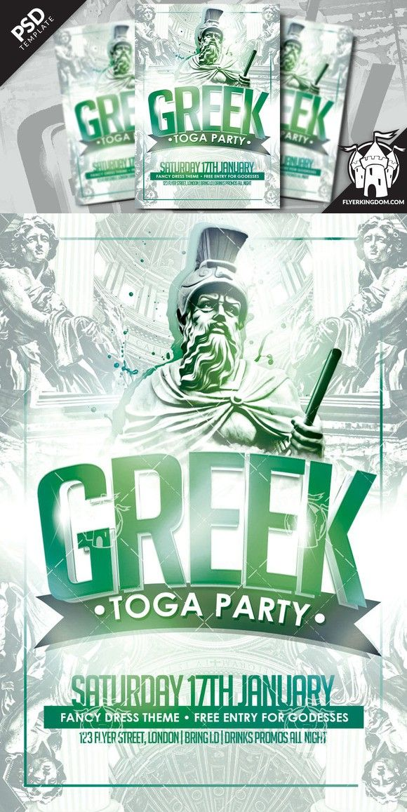 Greek Toga Party Flyer Template Toga Party Party Flyer Greek Toga