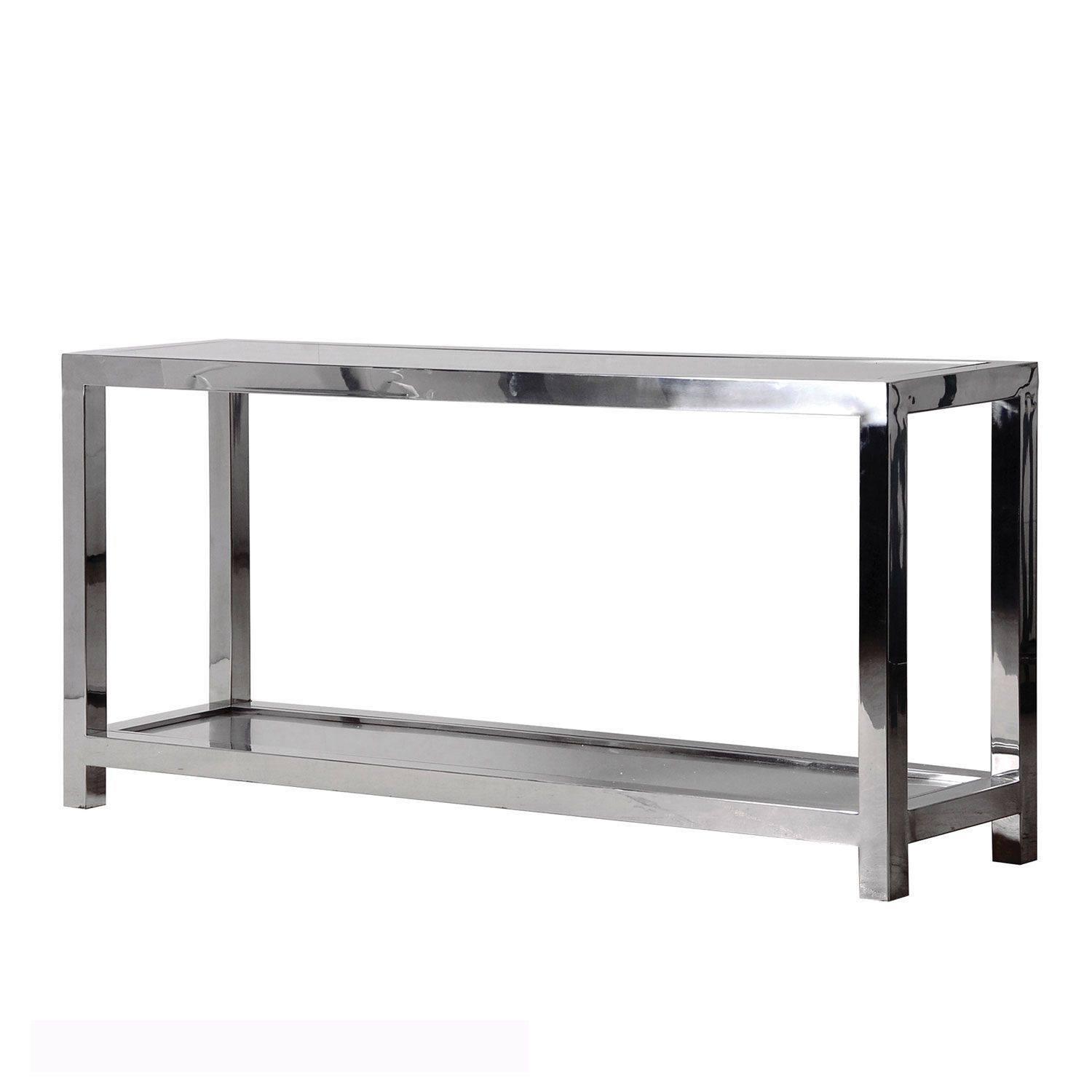 Glass console table with shelf this steel and glass end kingston console table is wonderful for a