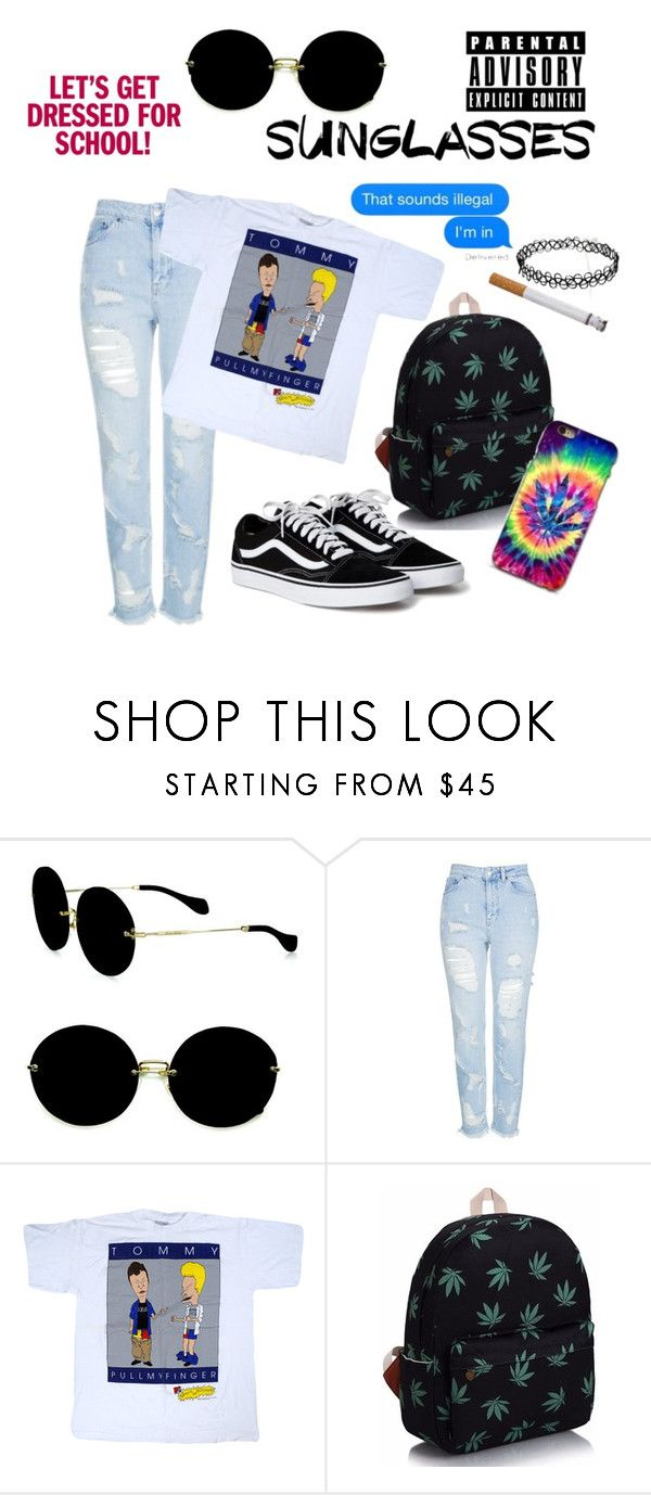 """school weirdo"" by boom-with-red-eyes ❤ liked on Polyvore featuring Miu Miu and Topshop"