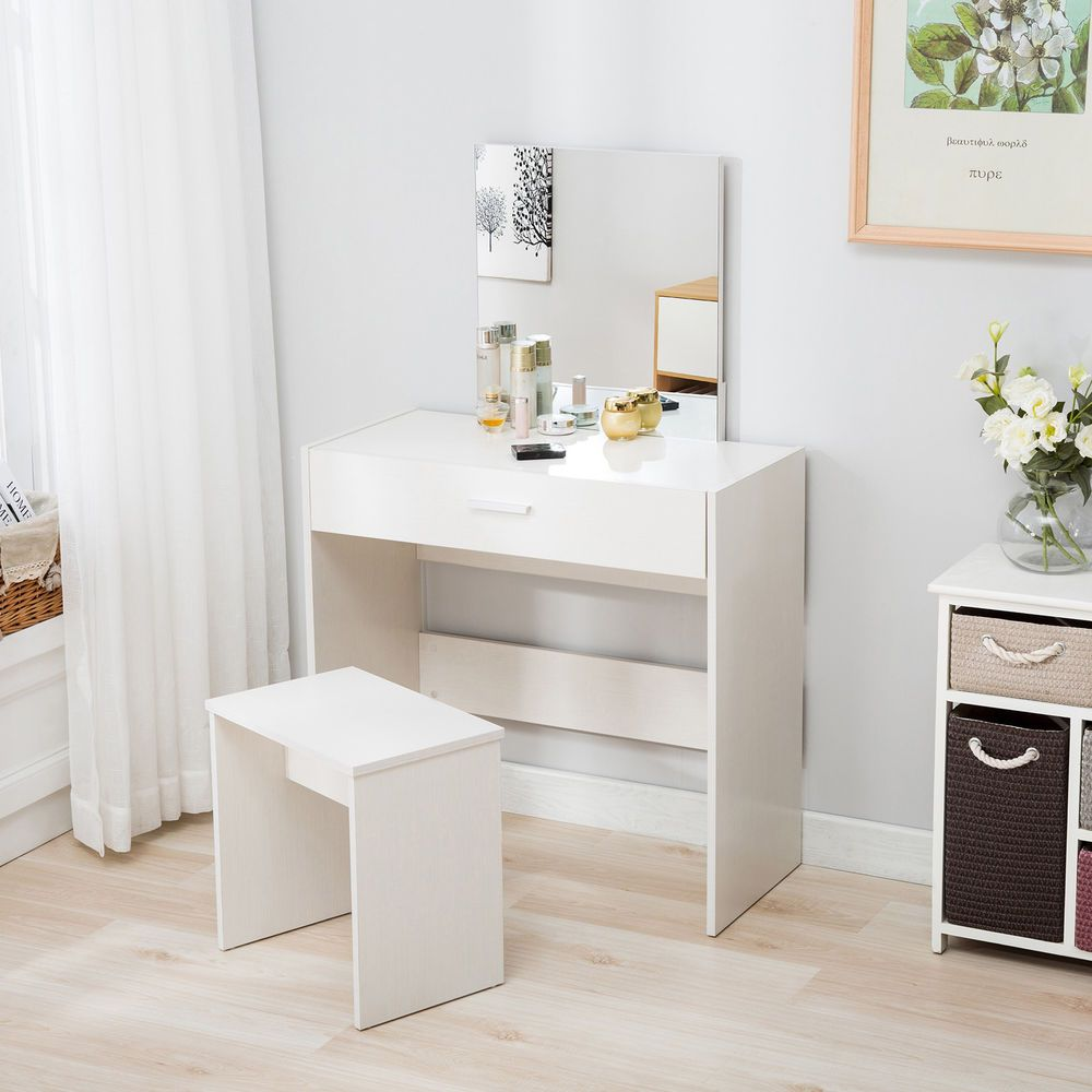 Vanity Dressing Table Stool Set Makeup Dresser Desk With Mirror Drawer White 75 90 End Date White Vanity Table Bedroom Vanity Set Dressing Table With Stool