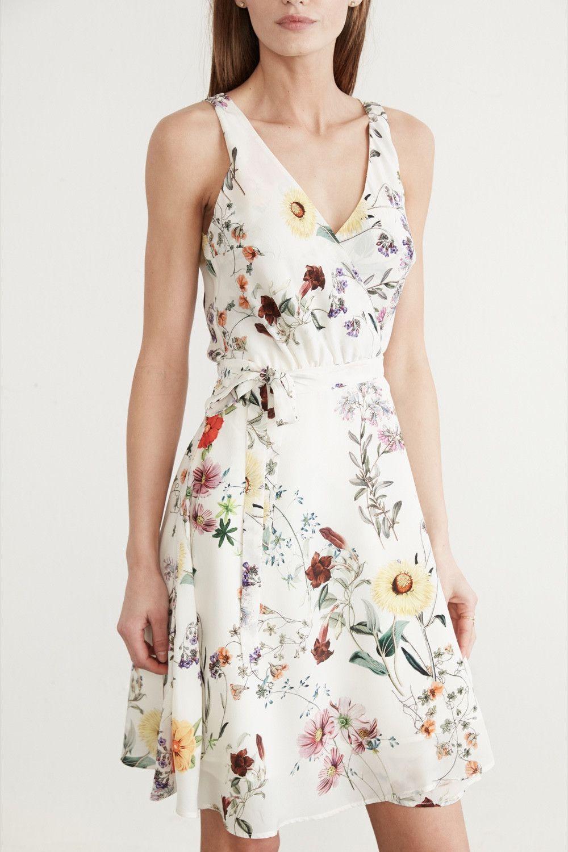 New Women Summer Bird Print Dress Light Navy Blue Tea Dress Summer Shift Dress