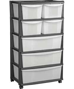 7 drawer plastic wide storage chest black for Bedroom units argos