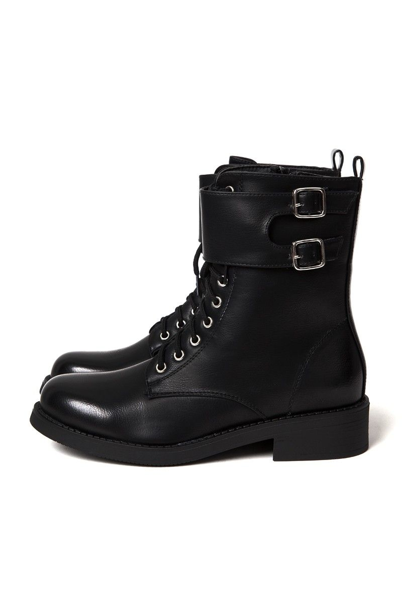 Boots façon rangers Femme en cuir noir   Jonak