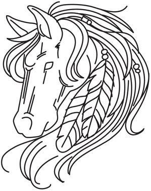 Hest med fjer i manken