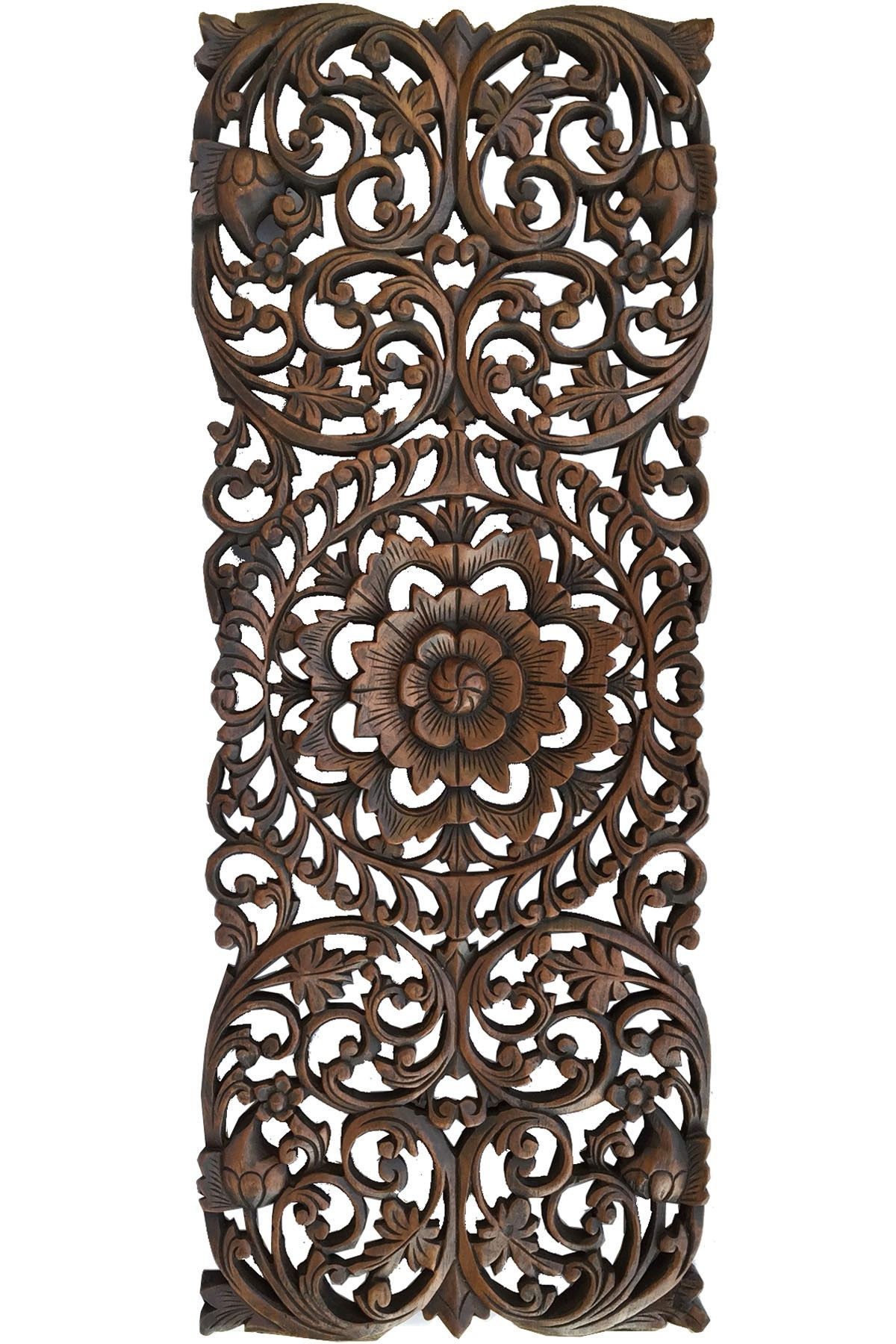 Floral Tropical Carved Wood Wall Panel. Asian Wall Art ...
