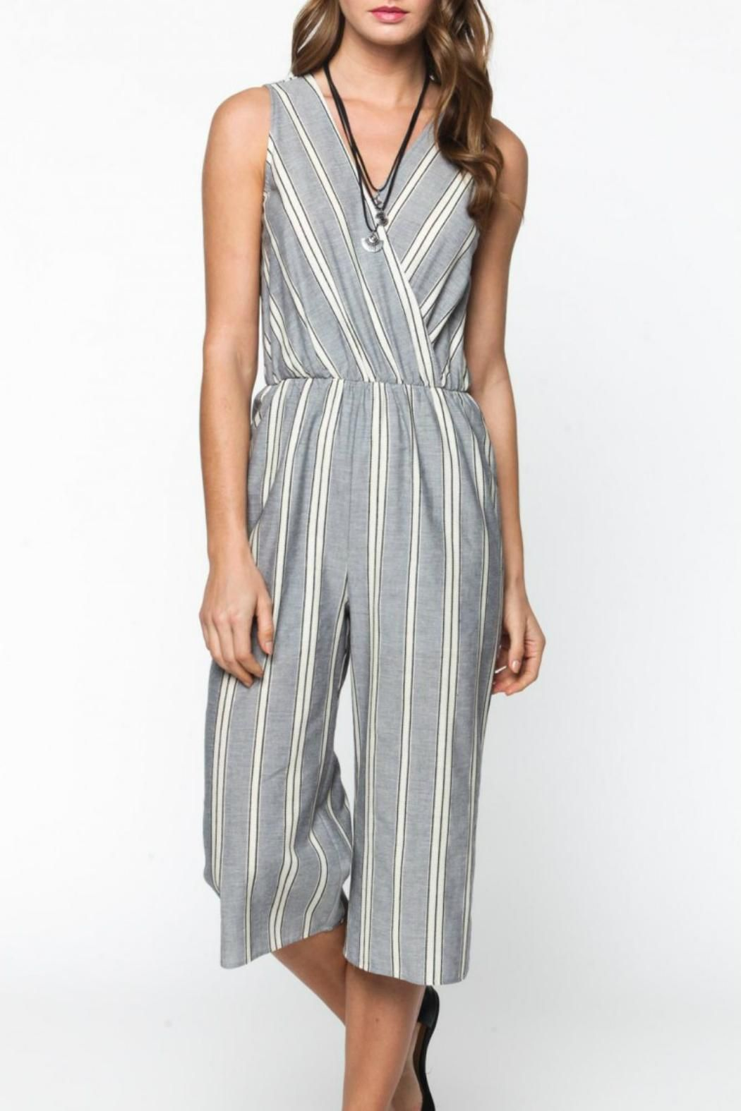 4ca391e44442 Striped mid--calf length jumpsuit with v neck and back. Striped Capri  Jumpsuit by Everly. Clothing - Jumpsuits & Rompers - Jumpsuits Texas
