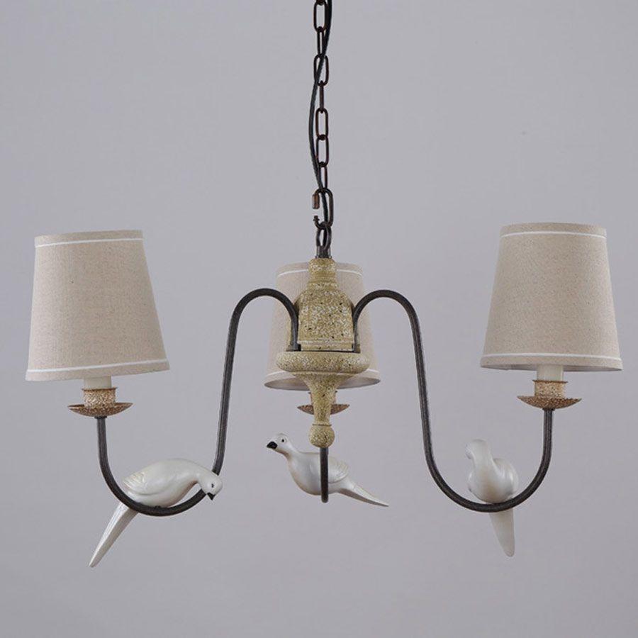 3 Arm Licht Retro Schone Kronleuchter Treppen Wohnzimmer Lampe Harz Vogel Eisen Weiss Stoff Lampenschirm Leuchte